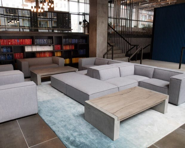 Gray sofas | Multi-family lobby