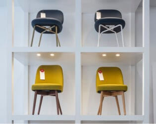 Chairs on display at the Interior Define Guideshop in Boston
