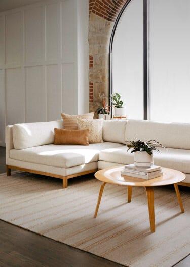 Interior Define Jasper Left Chaise Sectional in Linen Fabric