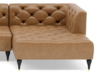 Ms. Chesterfield Right Chaise Sectional in Palomino Leather
