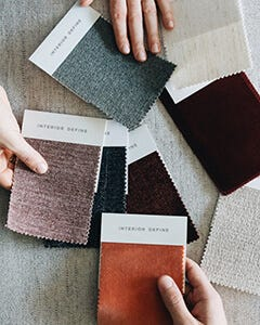 Interior Define swatches spread out in a customer's home