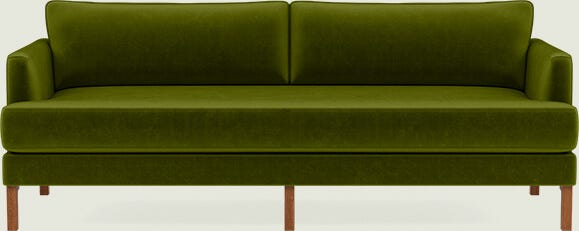 Interior Define Winslow Sofa in Moss Mod Velvet with Walnut Winslow Leg