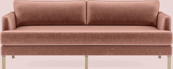Interior Define Winslow Sofa in Blush Mod Velvet with Oak Winslow Leg