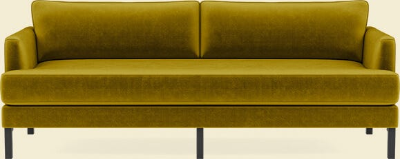 Interior Define Winslow Sofa in Citrine Mod Velvet with Walnut Winslow Leg